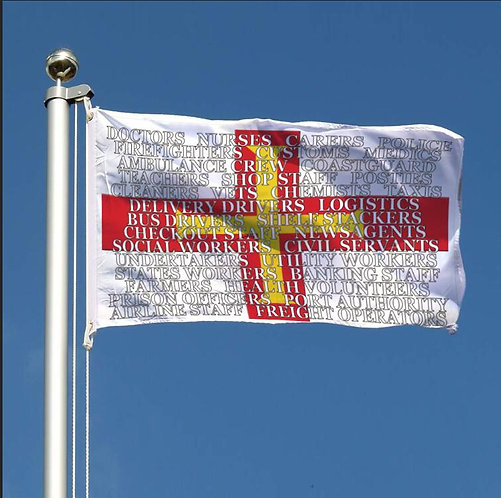 SALE ITEM - Guernsey Channel Islands Key Workers Thank You words jobs Flag