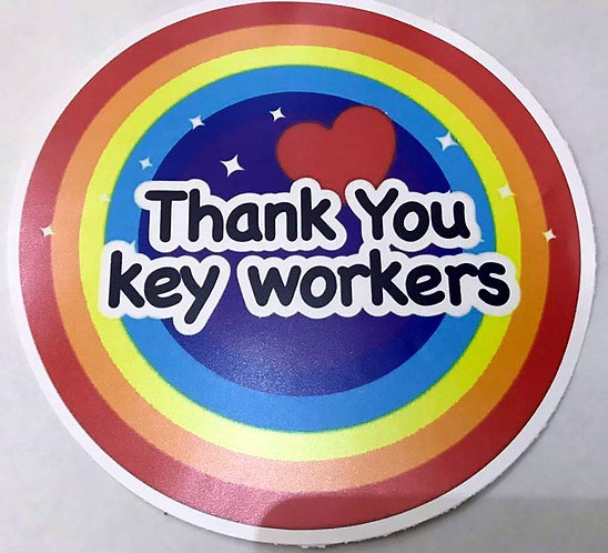 SALE ITEM - Rainbow Thank You Key Workers NHS Together pvc sticker 200mm