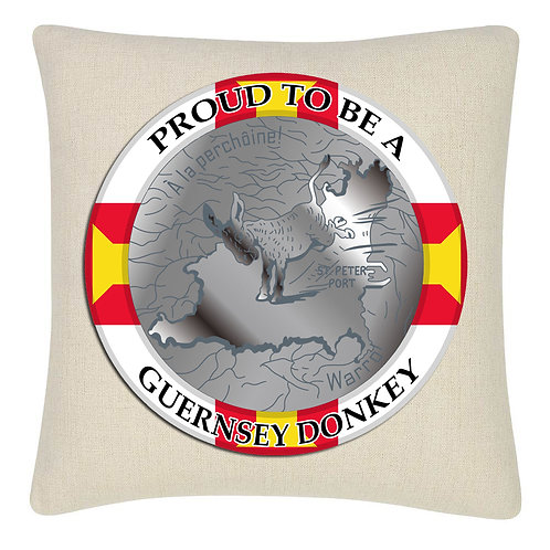 Proud to be a Guernsey Donkey Custom Cushion Cover 45x45cm Linen New Age