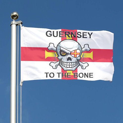 Guernsey Flag - Guernsey To The Bone - Skull Bikers Support plus hand flag