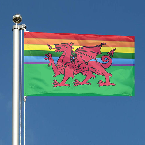 Key Workers Thank You Rainbow stripes Wales Together red dragon flag