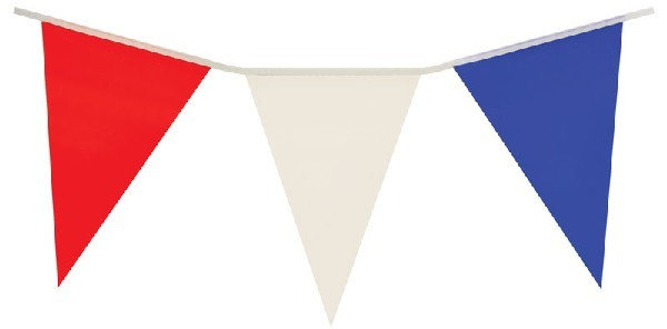 Red White and Blue UK Pennant Flag Bunting PVC 7 meter 25 flags