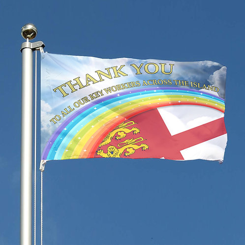 Thank You Key Workers Rainbow Flag Channel Islands Sark Together