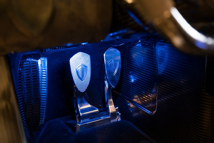 The driving pedals of a Koenigsegg Jesko. (Smiley N. Pool/Staff Photographer)