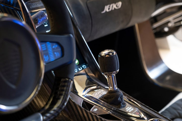 The steering wheel and center console of the Koenigsegg Jesko. (Smiley N. Pool/Staff Photographer)