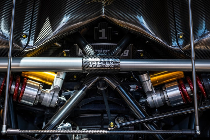 A view under the hood of the Koenigsegg Agera RS. (Smiley N. Pool/Staff Photographer)