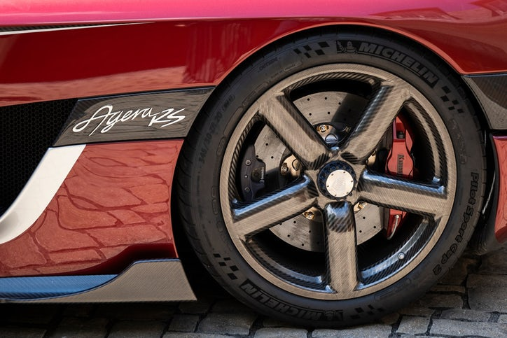 A view of the driver's side rear wheel and badge of the Agera RS. (Smiley N. Pool/Staff Photographer)