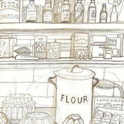Retro kitchen shelf