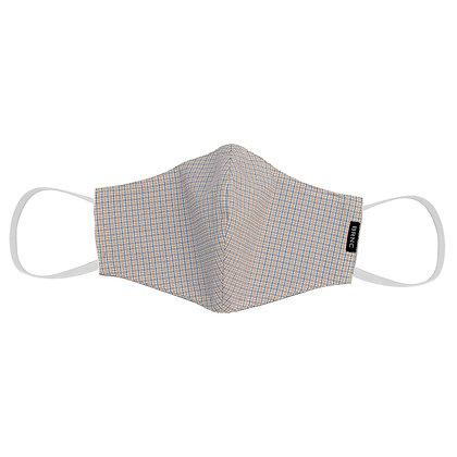 Máscara de Tecido Tricoline Xadrez Fio 120 100% Algodão Cor Branco/Laranja