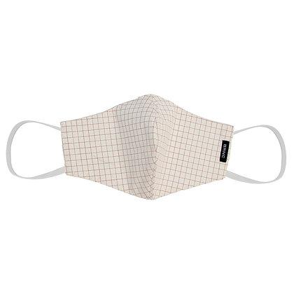Máscara de Tecido Tricoline Xadrez Fio 120 100% Algodão - Cor Branco/Bordeaux