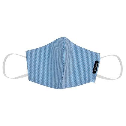 Máscara Infantil de Tecido Tricoline Xadrez Fio 120 100% Algodão - Cor Azul