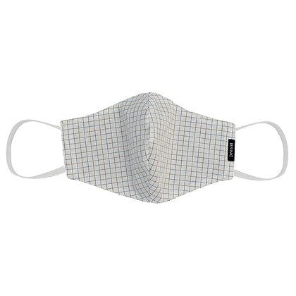 Máscara de Tecido Tricoline Xadrez Fio 120 100% Algodão - Cor Branco/Azul/Cinza