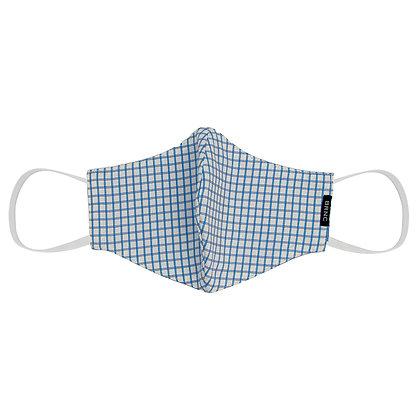 Máscara de Tecido Tricoline Xadrez Fio 120 100% Algodão - Cor Branco/Azul