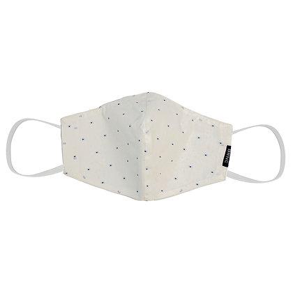 Máscara de Tecido Poá  Fio 140 100% Algodão - Cor Branco/Azul