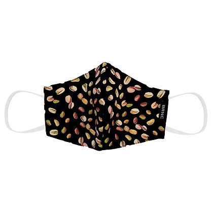 Máscara Infantil de Tecido Pistache Fio 120 100% Algodão  Cor Preto
