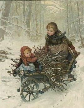 two-children-bring-home-a-barrow-load-of
