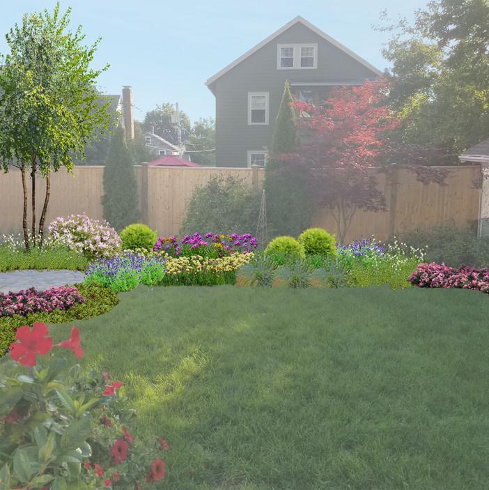 Perennial Garden Border and Lawn
