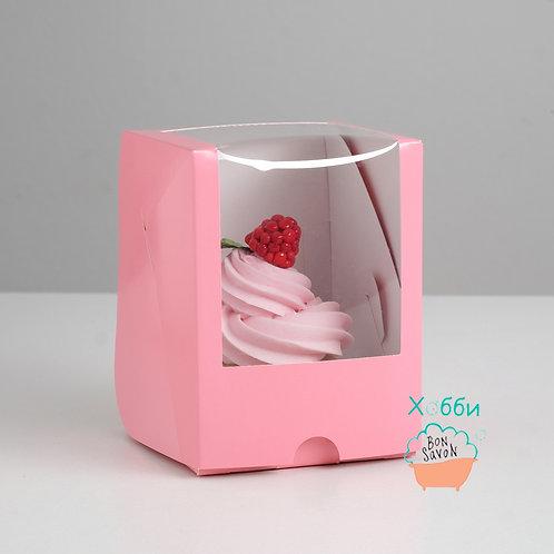 Коробка с окном, розовая, 12,5 х 9,5 х 9,5 см