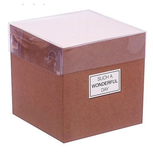 Коробка для цветов с прозрачной крышкой  Wonderful day