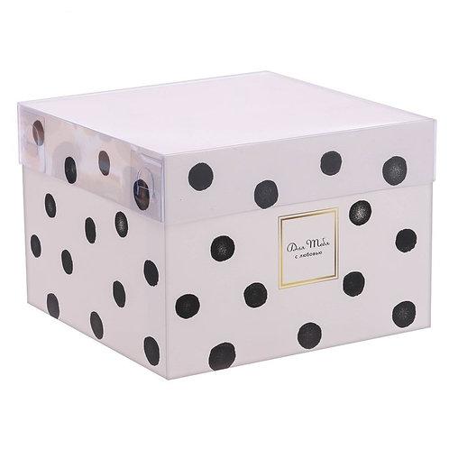 Коробка для цветов с прозрачной крышкой «Для тебя с любовью»