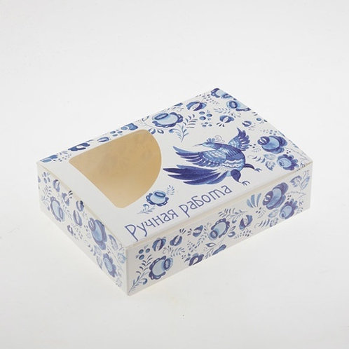 Коробка с окошком-сектором  Гжель