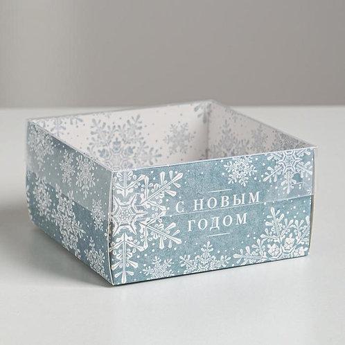 Коробка с PVC крышкой «С Новым годом!», 12 х 6 х 11,5 см
