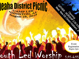 Cheaha District Picnic with Youth Led Worship: Sunday August 28
