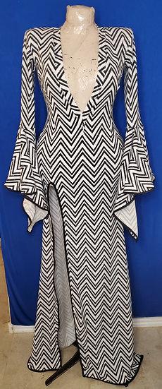B&W ZigZag Print Gown