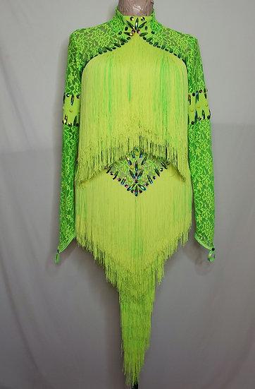 Neon Green Fringe Dance Costume