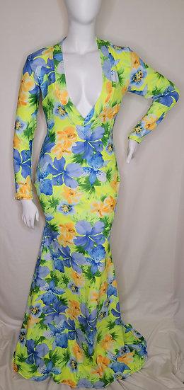 Tropical V-cut Gown