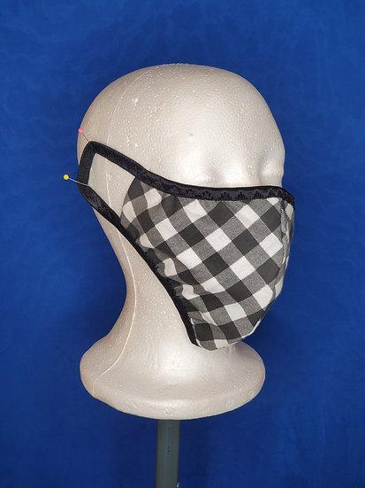 B&W Plaid Face Mask