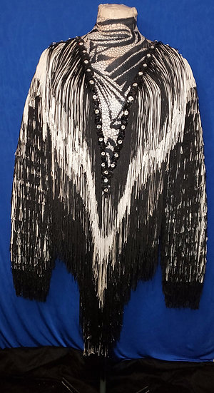 B&W Solid Fringe Dance Costume