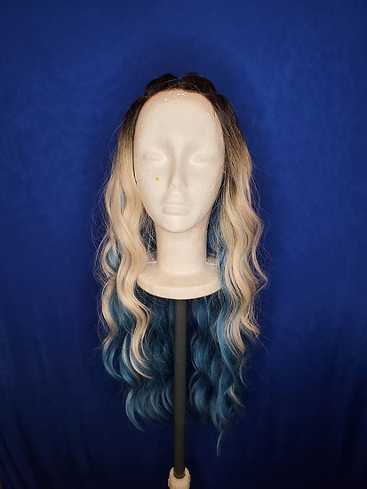 Grey Blue Lace Front Wig