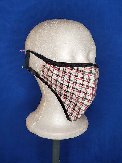 White Plaid Face Mask