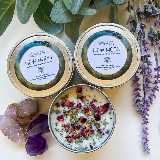 "New Moon Herbal Crystal Candle ""Be Enchanted"" Scent"