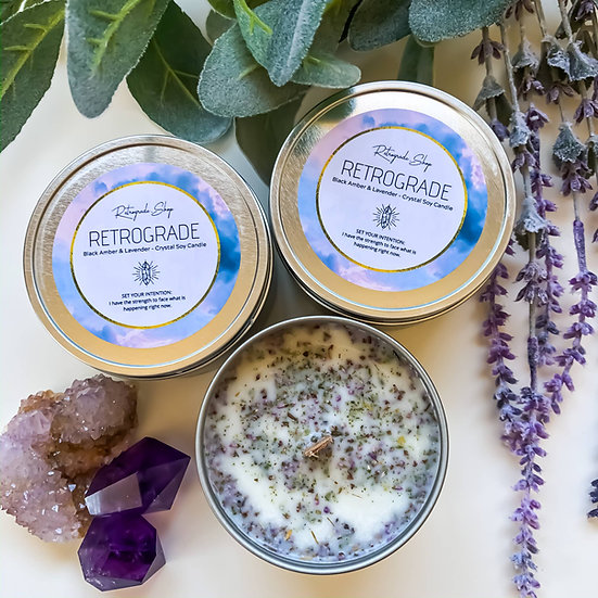 "Retrograde Herbal Crystal Candle ""Black Amber & Lavender"""