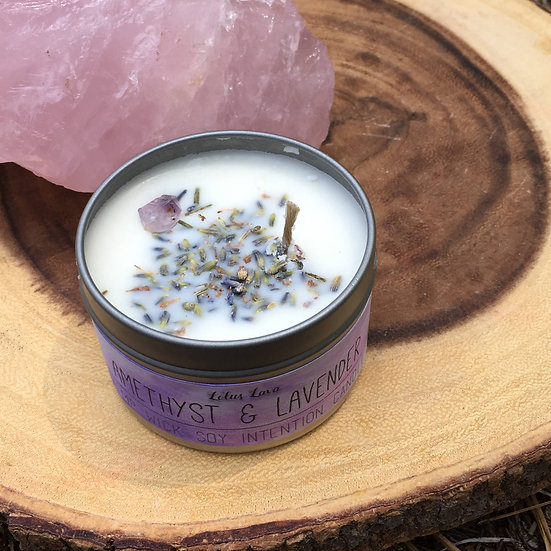 Amethyst and Lavender Relaxation Candle