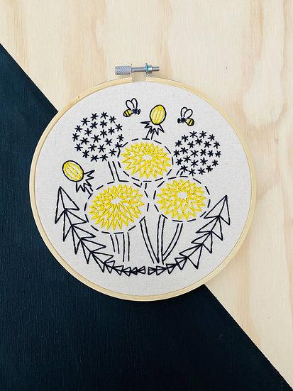 Bee Kind, Dandelion Embroidery Kit