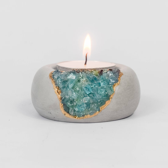 Blue Apatite Tea Light Holder
