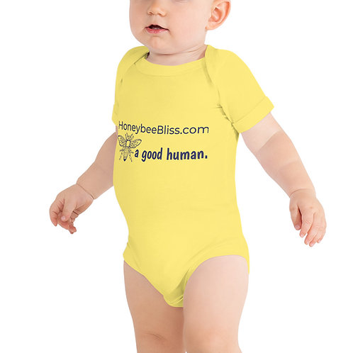BEE a good human. Baby short sleeve onesie