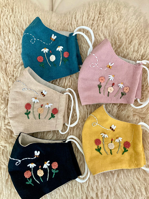 Linen Hand Embroidered Face Masks