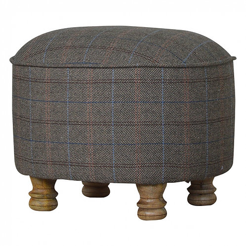 Oval Upholstered Footstool In Multi Tweed