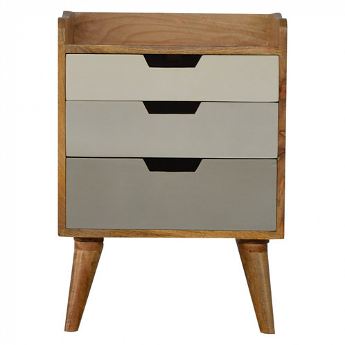 Nordic Style Bedside with 3 Drawer Painted Fronts