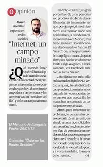 """El Mercurio Antofagasta """"Internet un campo minado"""""""