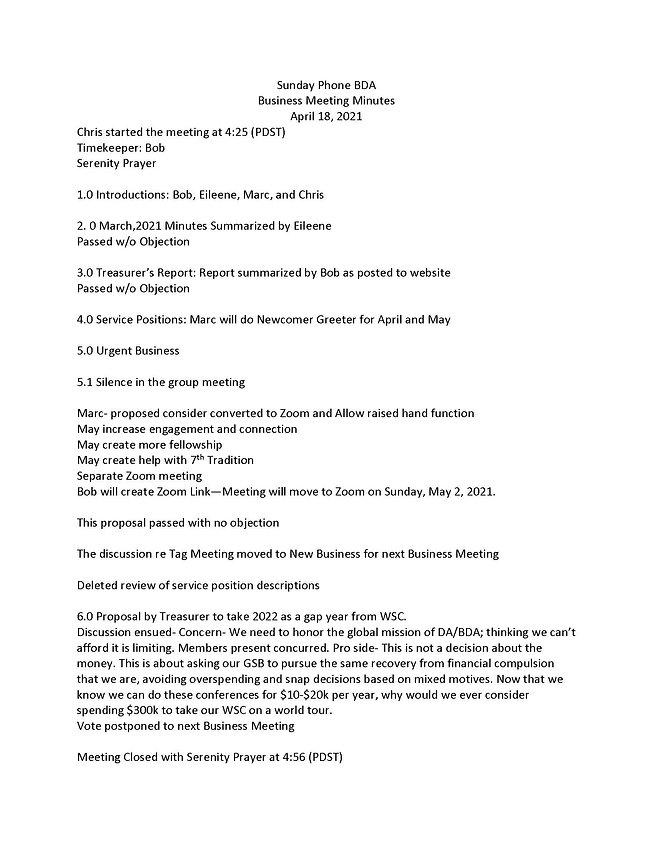 2021-04-18 Sunday BDA Phone Business Mee