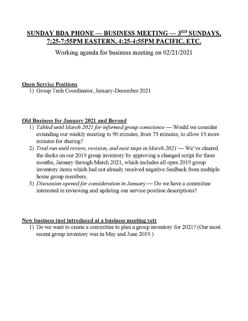 2021-02 Sunday BDA Phone Working Busines