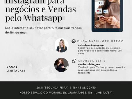 Workshop sobre Instagram e Whatsapp para negócios acontece em novembro