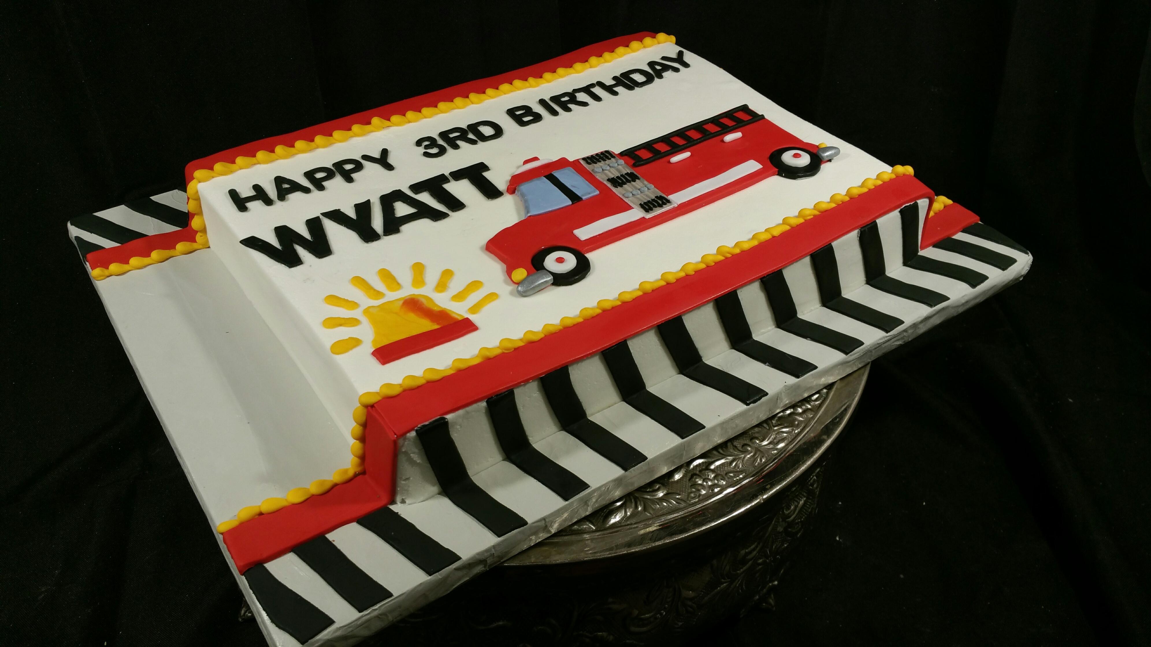 Fire truck sheet cake