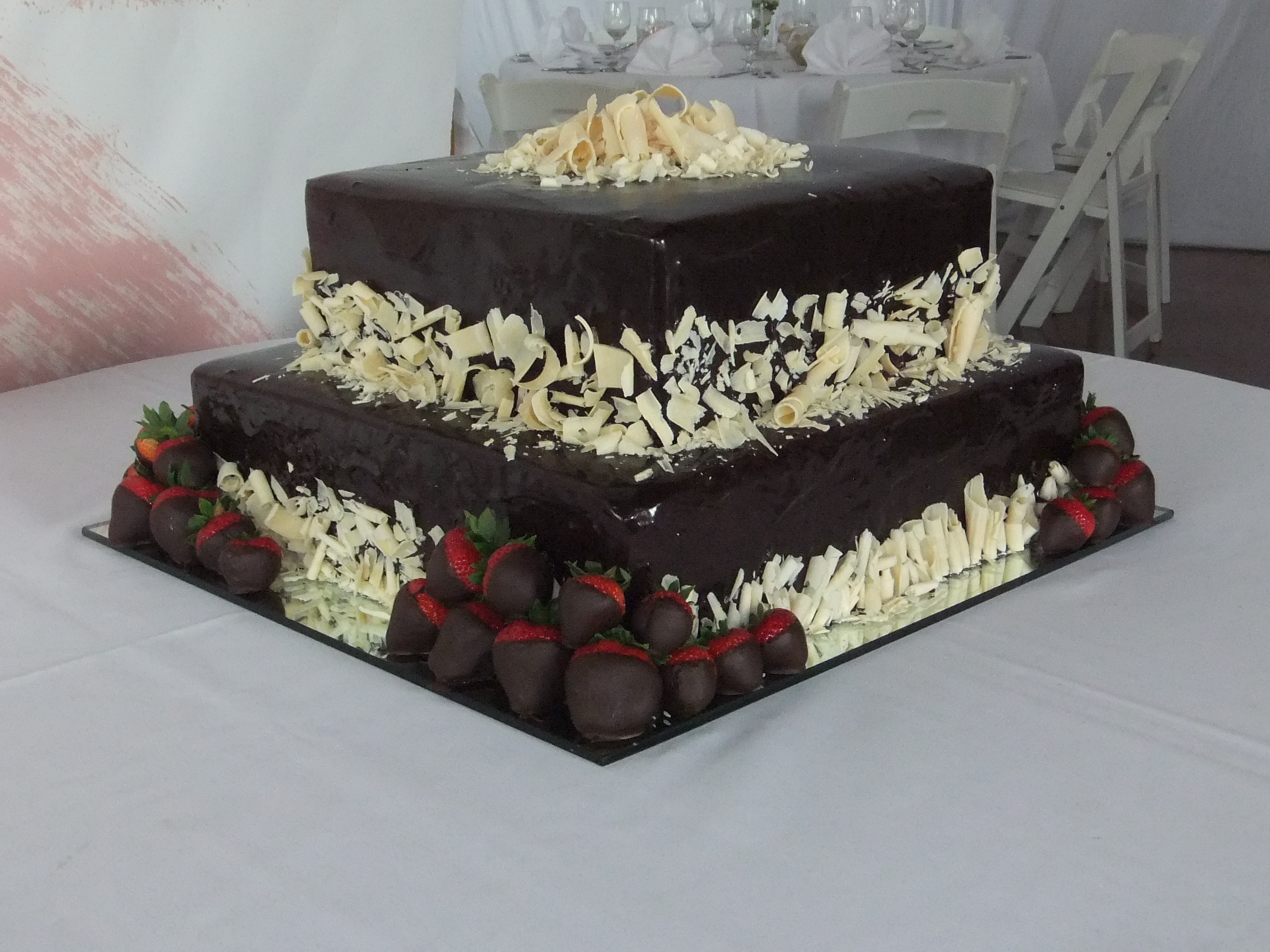 Grooms cake- ganache and wht choc shavin