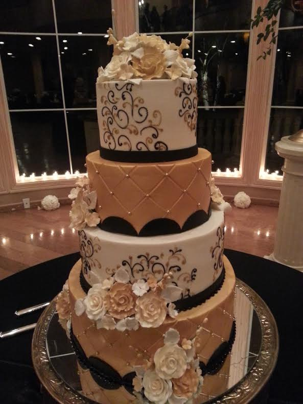 Gold and black wed cake